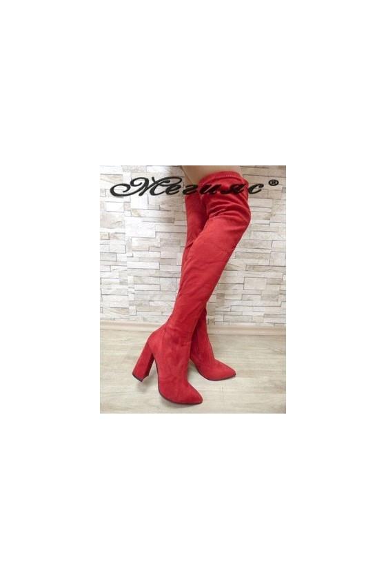 3322 Дамски ботуши червени тип чизми от еко  велур
