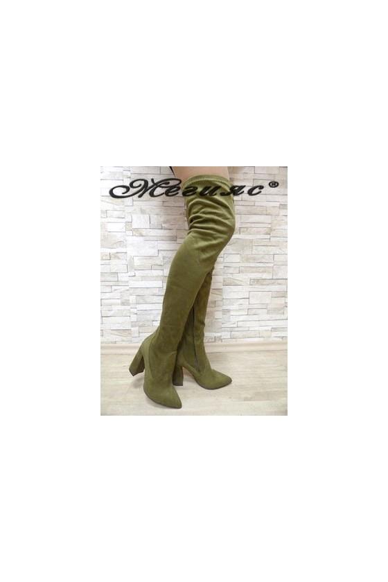 3322 Дамски ботуши цвят каки тип чизми от еко  велур