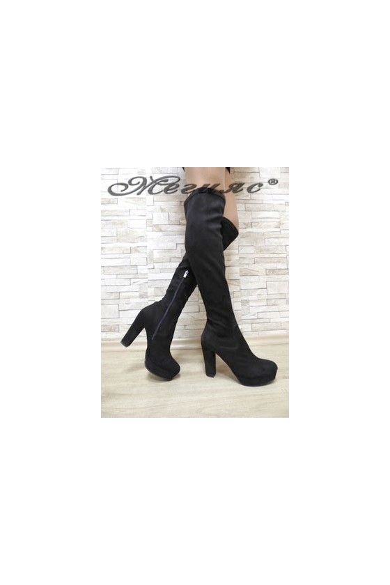 160-01 Women long boots black suede