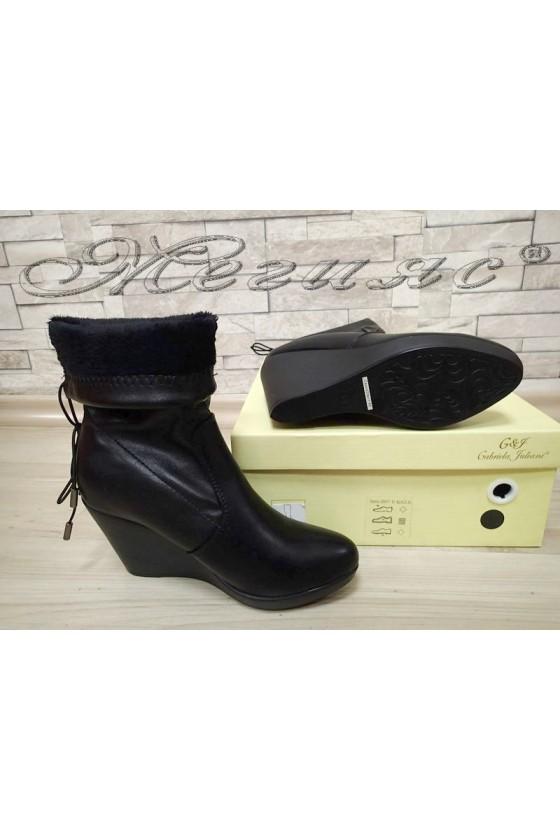 Дамски боти на платформа черни от еко кожа Cassie 20W17-49