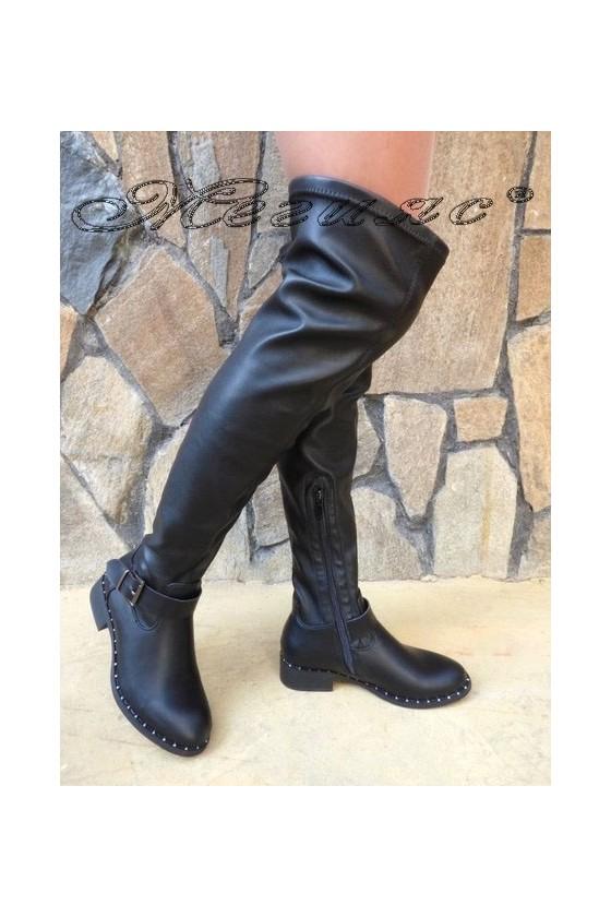 Дамски ботуши CASSIE 19-1480 черни от еко кожа тип чизми