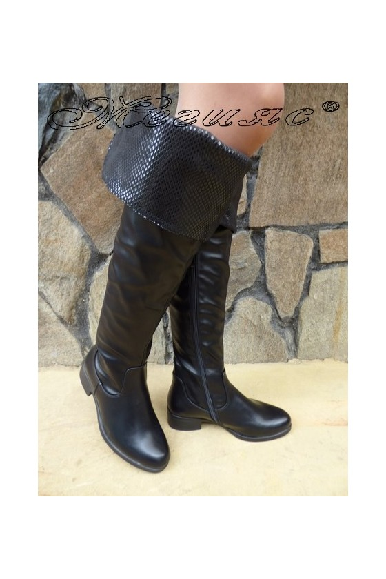 Lady long boots CASSIE 18-2502 black pu