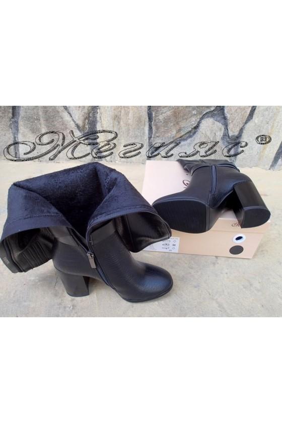 Дамски ботуши  черни от еко кожа на висок ток Christine 20W18-334