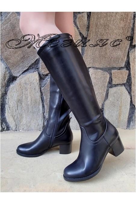 Дамски ботуши Christine 20W17-207 черни от еко кожа на широк ток