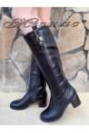 Дамски ботуши Christine 20W17-213 черни от еко кожа на нисък ток