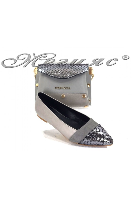 47711 Дамски обувки тип пантоф с черна чанта 7711