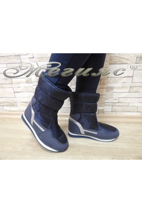 Lady warm boots 18-2770 blue pu+ textiles