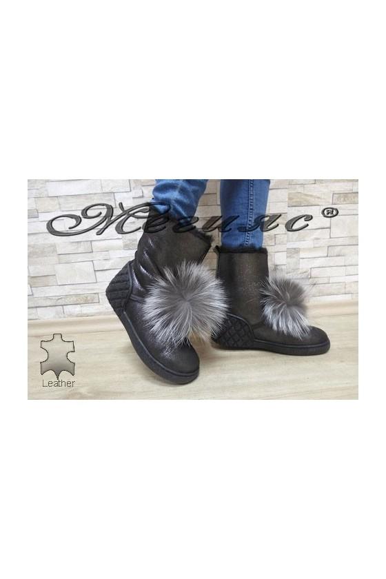 7053-82 Women boots dark silver leather