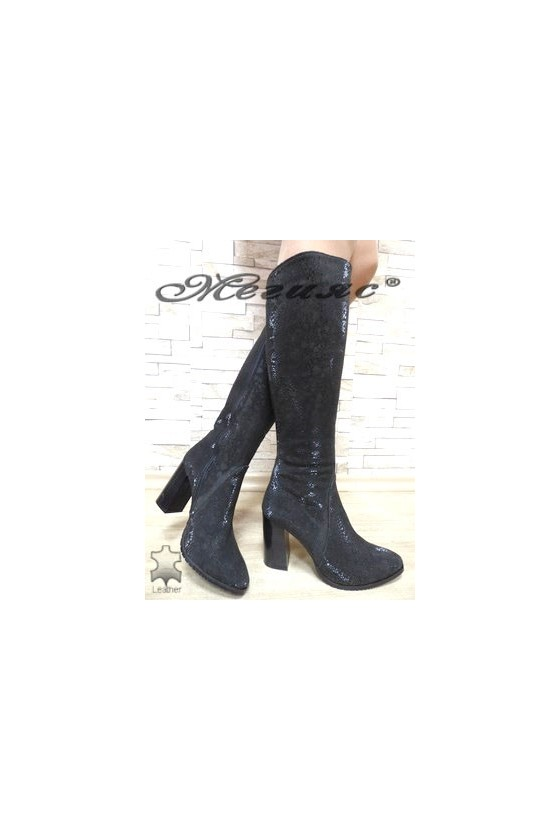 885 Lady boots black suede leather
