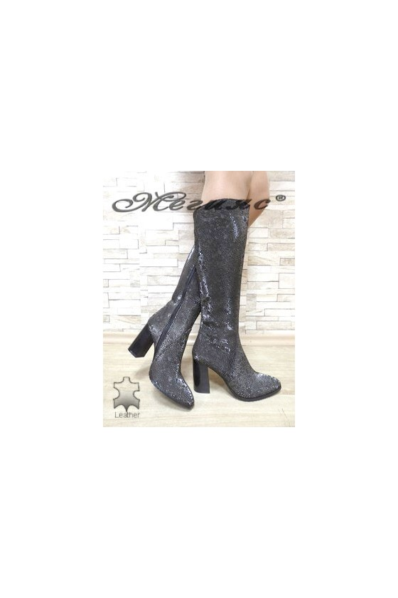885 Women boots dark silver suede leather