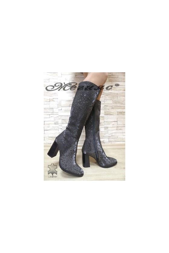 885 Women boots dark silver suede leather