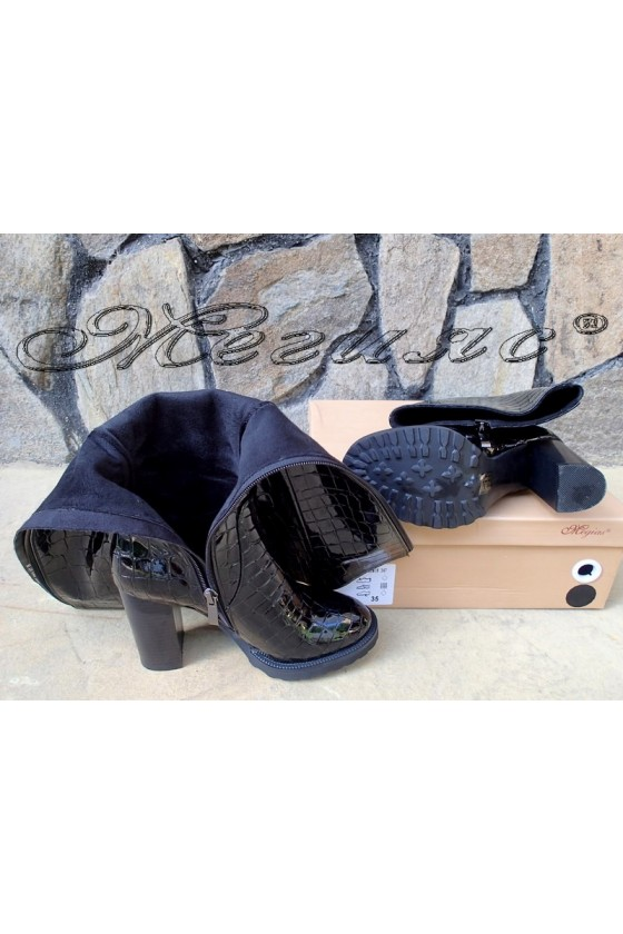 Lady  boots Christine 20w18-347 black pu coated with lacquer