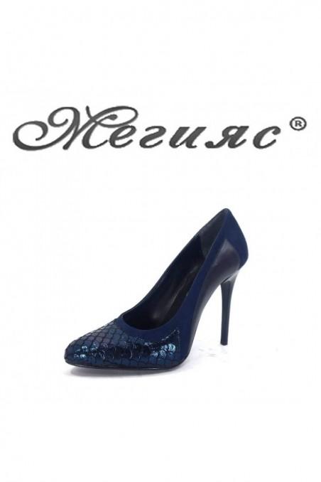 160-0-944 Дамски елегантни обувки синя кожа с велур  на висок ток