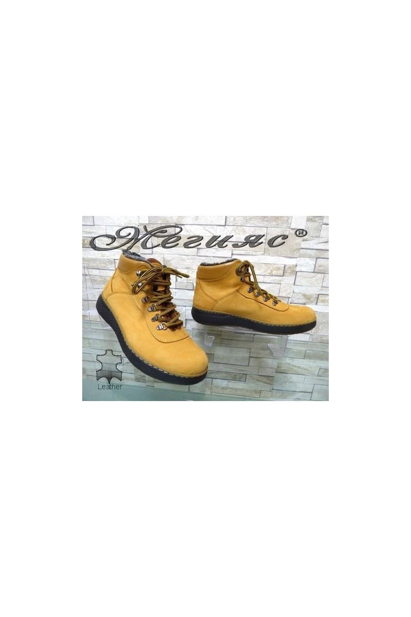 510-2 Мъжки боти жълти от естествена кожа