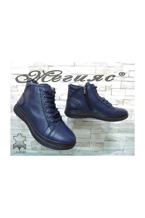 183-32- Men's boots blue leather
