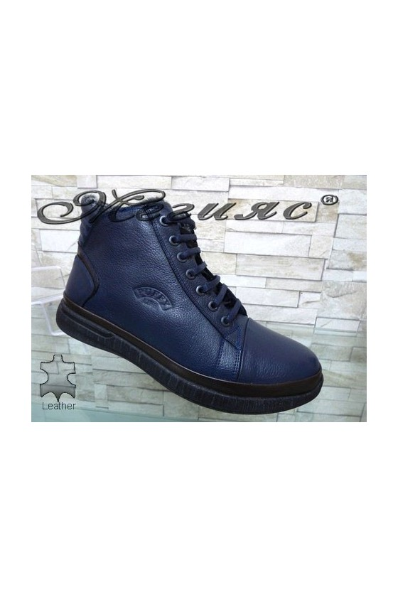 183-32- Men's boots blue leather
