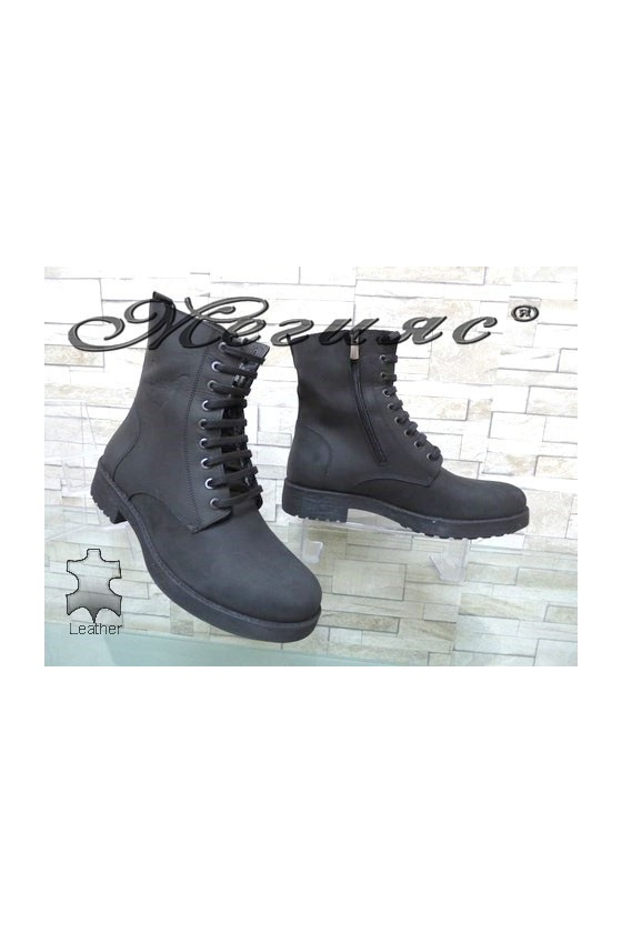 175-34 Men's boots black leather