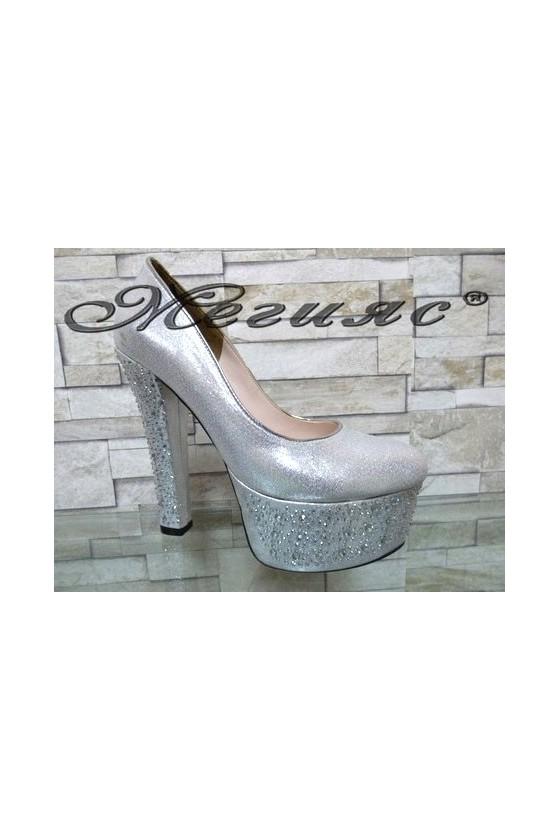 00885 Lady elegant shoes silver pu