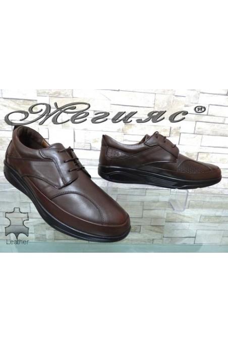 2586 Мъжки обувки кафяви от естествена кожа