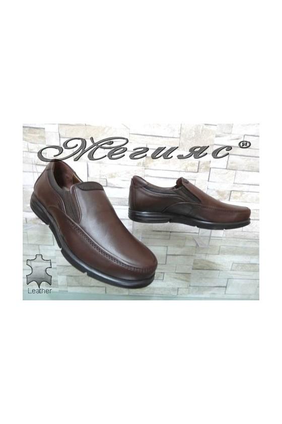 2587 Мъжки обувки кафяви от естествена кожа
