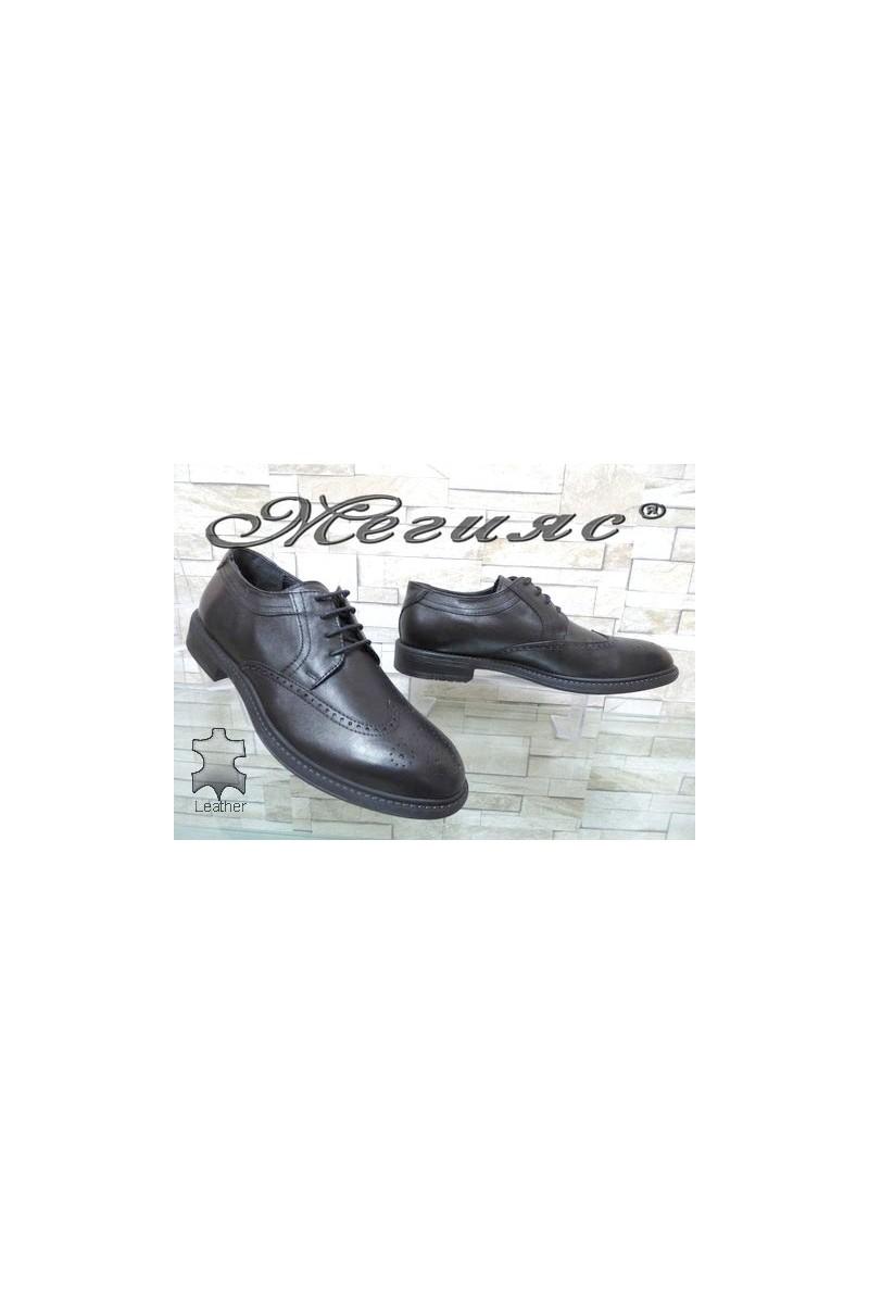 2407 Мъжки елегантни обувки черни от естествена кожа