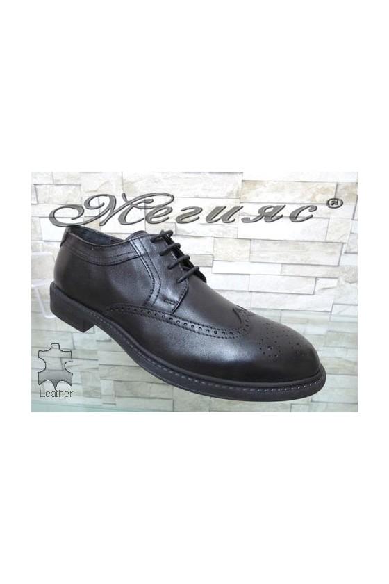 2407 Men's elegant shoes black leather