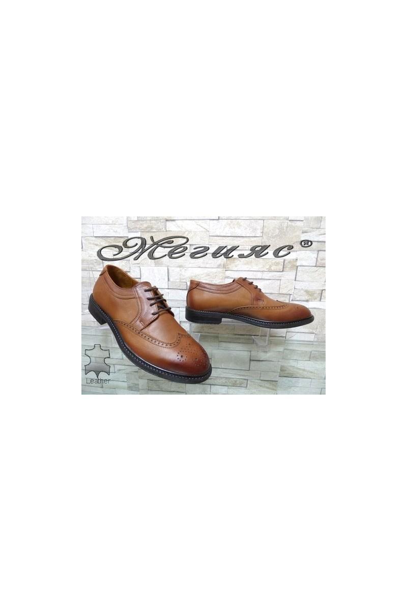2476 Мъжки елегантни обувки светлокафяви от естествена кожа