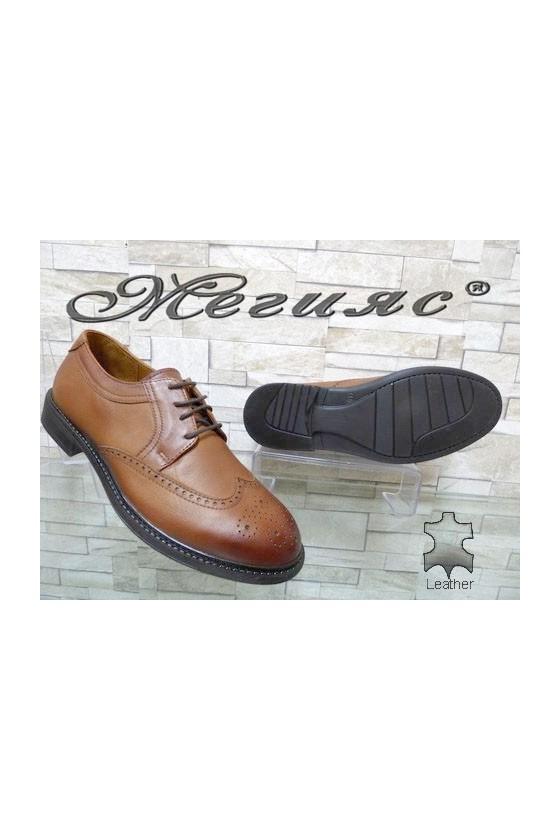 2476 Men's elegant shoes brown leather