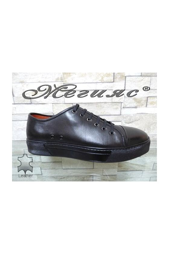 102 Men's sport shoes black leather