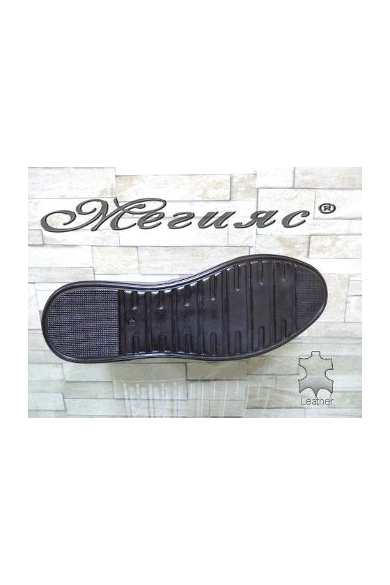 102 Мъжки спортни обувки черни мат от естествена кожа