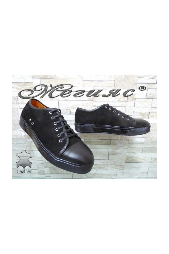 102 Men's sport shoes black suede leather