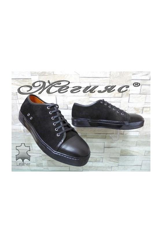 102 Мъжки спортни обувки черни велур и естествена кожа