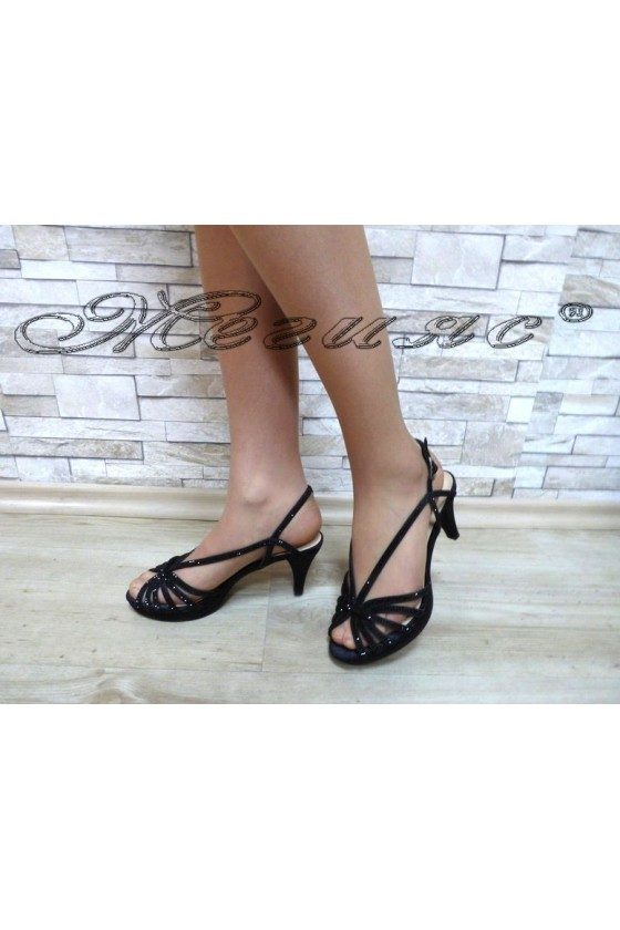 Дамски сандали  Jeniffer 18s20-130 черни от сатен елегантни на среден ток