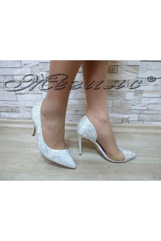 Дамски обувки Jeniffer 18s20-112 сребристи елегантни на висок ток