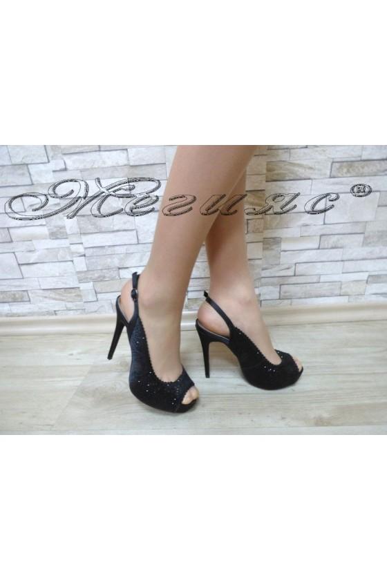 Дамски сандали  Jeniffer 18s20-116 черни елегантни на висок ток и платформа
