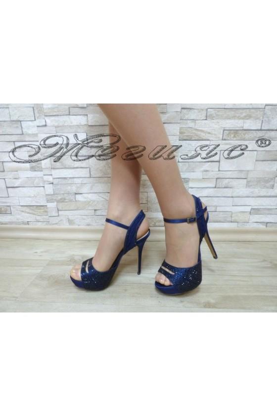 Дамски сандали Jeniffer 18s20-57 сини елегантни на висок ток и платформа