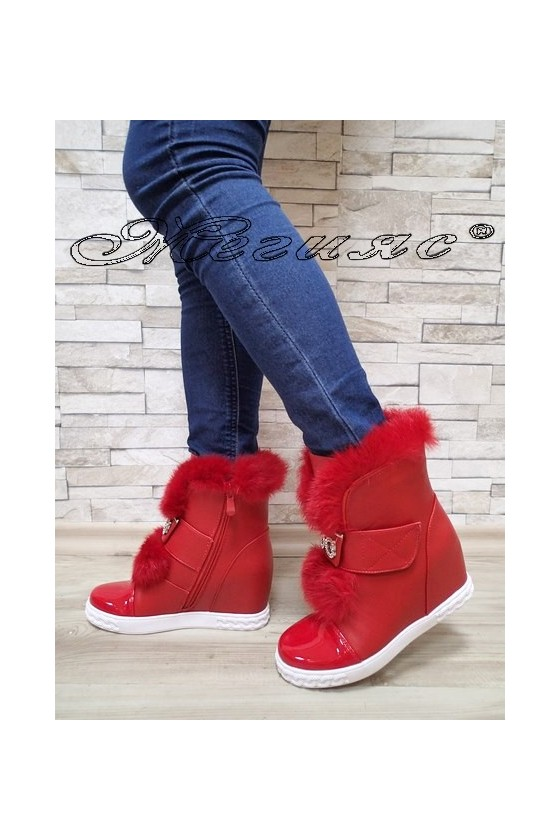 Women boots Cassie 2017-45 red pu