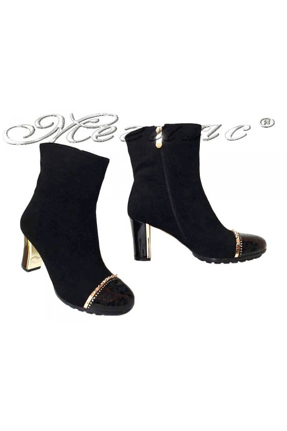 Women elegant ankle INKA 15410 medium heel black suede pu