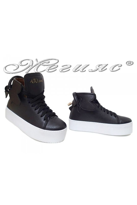 Women sport boots 17-40 black pu