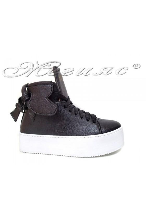 Women sport boots 17-40  black pu