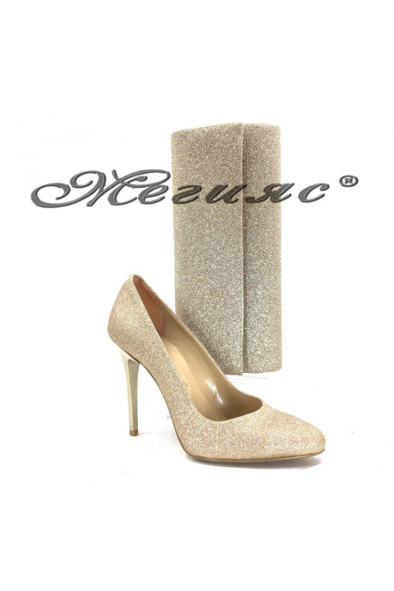 162 Lady elegant shoes gold with bag 373