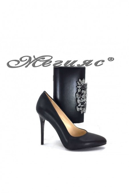 162 Lady elegant shoes black pu with bag 346