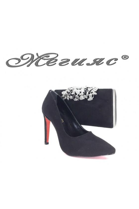 9909 Комплект дамски обувки черен велур с чанта 346