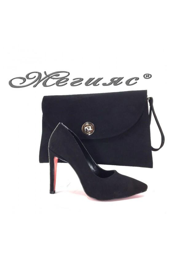 9909 Комплект дамски обувки черен велур с чанта 547