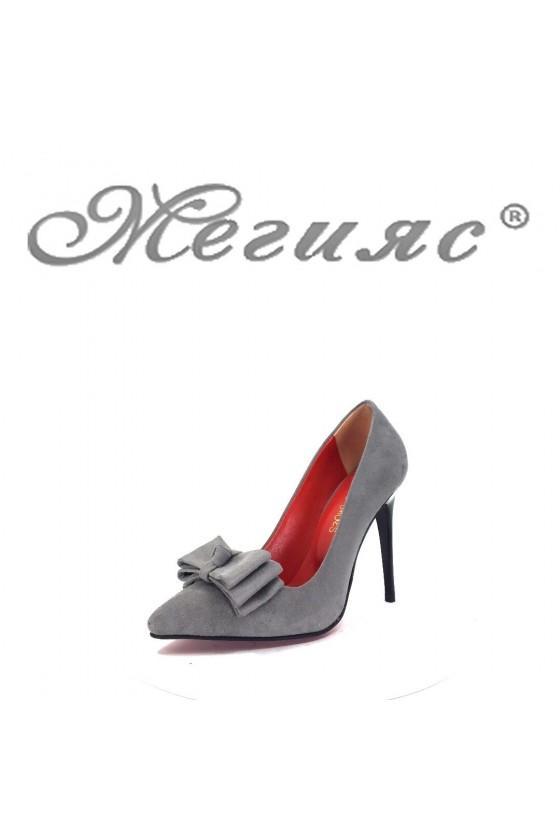 350-А Дамски елегантни обувки сиви остри на висок ток