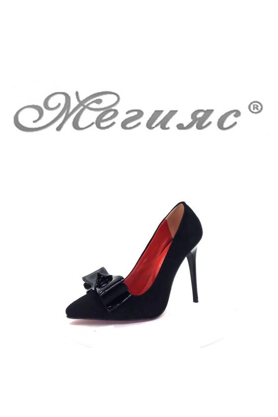 350-А Дамски елегантни обувки черни остри на висок ток