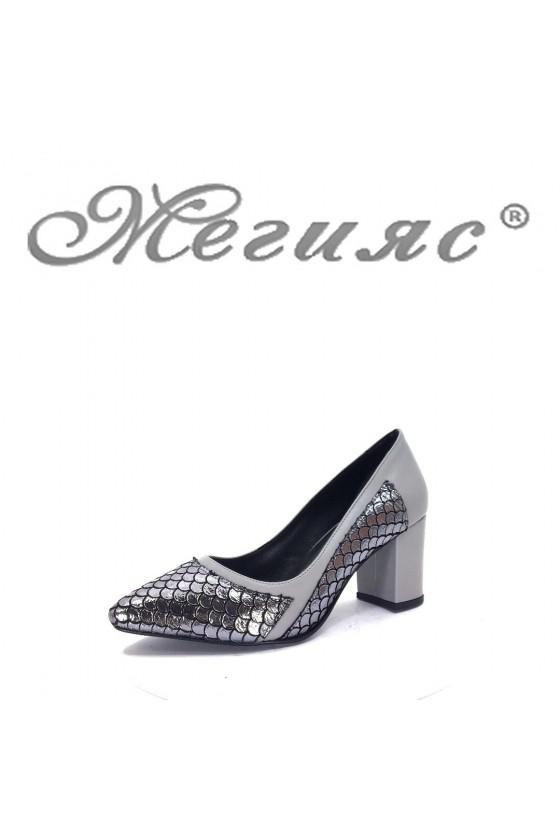 47716 Дамски елегантни обувки сиви на широк ток
