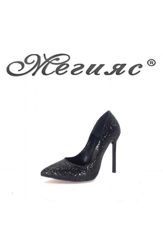 01167 Дамски обувки черен брокат елегантни на висок ток