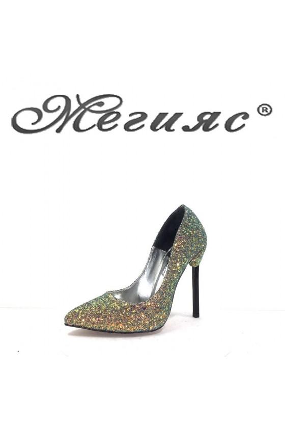 001169 Дамски обувки преливащ брокат елегантни на висок ток