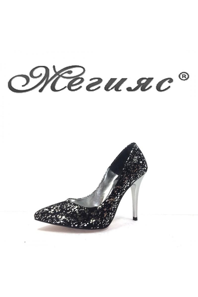 001162 Дамски обувки черен велур с сиво елегантни на ток